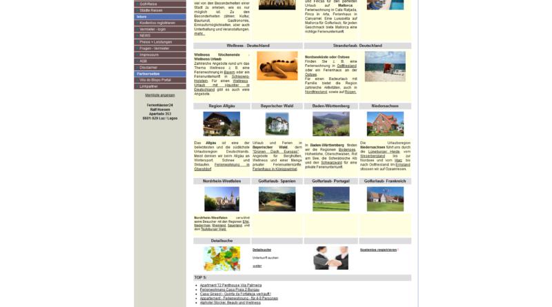 Screenshot Ferienhäuser24
